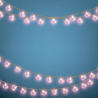 Walentynki karty z świecące światła w kształcie serca.