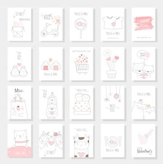 Walentynki karty zestaw z ręcznie rysowane stylu