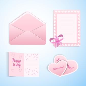 Walentynki kochają zestaw kart płaskich kopert i walentynki w kolorach białym i różowym w uroczej romantycznej ilustracji na białym tle