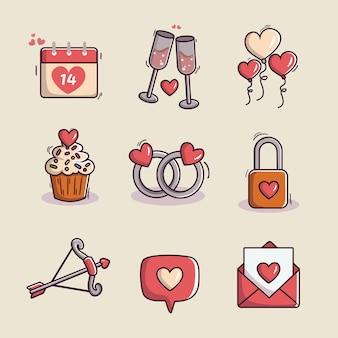 Walentynki kolekcja elementów