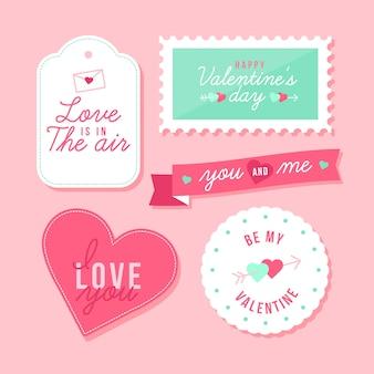 Walentynki kolekcja etykiet / znaczków w płaskiej konstrukcji