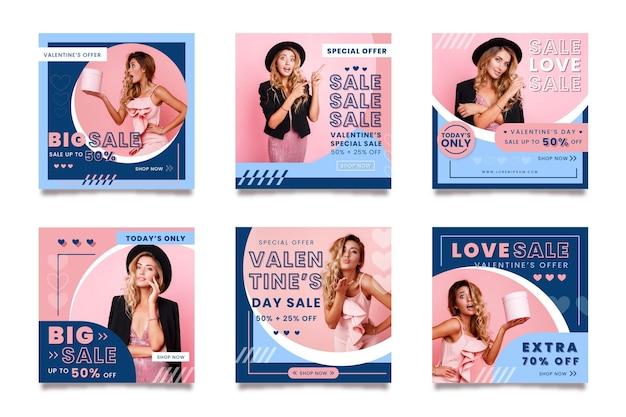 Walentynki kolekcja postów na instagramie ze specjalną sprzedażą
