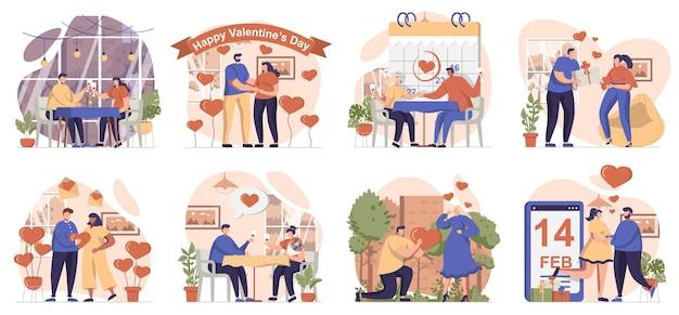 Walentynki kolekcja scen na białym tle ludzie zakochani świętują romantyczne wakacje