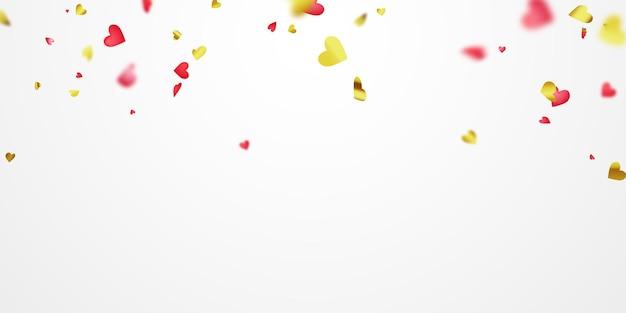 Walentynki, konfetti serca czerwone złote wstążki.