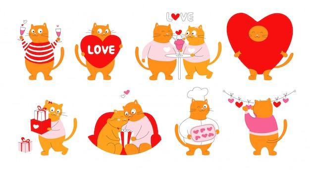 Walentynki. kreskówka śmieszni koty z sercami ilustracyjnymi