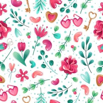 Walentynki kreskówka wzór. szwu na białym tle pozycje walentynki. kwiaty, serca, gałązki, liście. ozdobne elementy. różowo-niebieska gamma