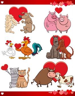Walentynki kreskówki ilustracyjna miłość ustawiająca z zwierzętami