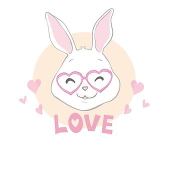 Walentynki królik królik z czerwonym sercem i tekst miłości