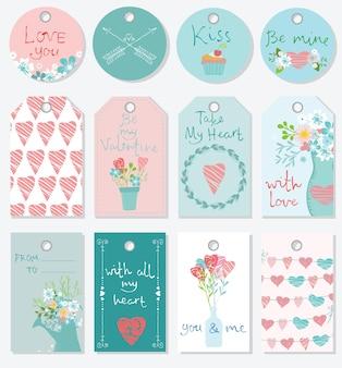 Walentynki kwiatowy ręcznie rysowane wektor zestaw. ilustracja wektorowa. idealny na walentynki, naklejki, urodziny, zapisz zaproszenie na datę.