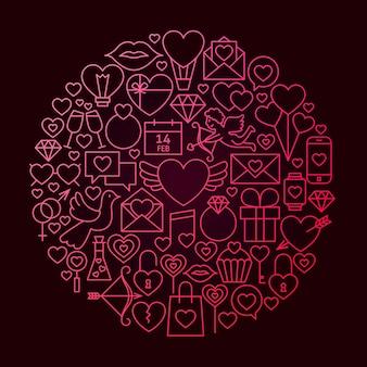 Walentynki linia ikona koło koncepcja. ilustracja wektorowa miłości ślub obiektów.