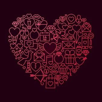 Walentynki linii ikona koncepcja serca. ilustracja wektorowa miłości ślub obiektów.