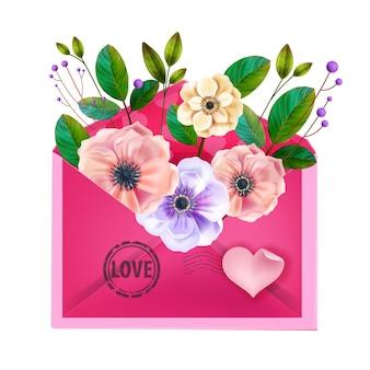 Walentynki list miłosny, kartka z pozdrowieniami z różową kopertą, kwiaty kwiatowe, róże, zielone liście.
