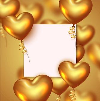 Walentynki lub rocznica tło z realistycznymi złotymi balonami serca