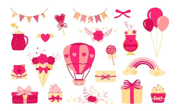Walentynki lub zestaw ślubny. płaski projekt kreskówki. ładny list, bukiet prezentów i pudełka. tęczowy napój, słodycze bombki dekoracje na wakacje. kolekcja różowych obiektów. ilustracja na białym tle