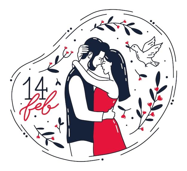Walentynki Luty, Romantyczny Uścisk Pary Premium Wektorów