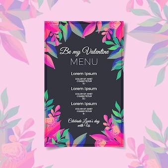 Walentynki menu szablon na akwareli