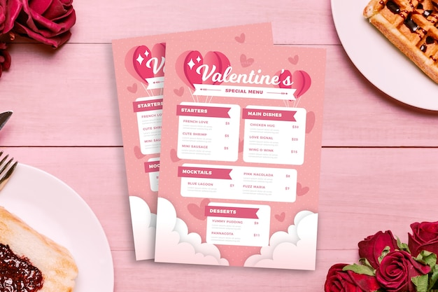 Walentynki menu szablon stylu płaska konstrukcja