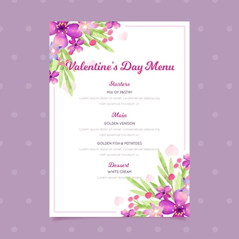 Walentynki menu szablon w koncepcji akwarela