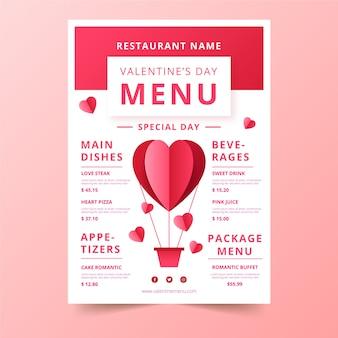 Walentynki menu z balonem w kształcie serca