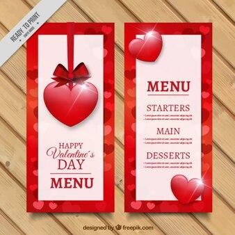 Walentynki menu z błyszczących serc