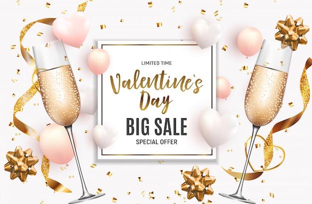 Walentynki miłość i uczucia sprzedaż banner design.