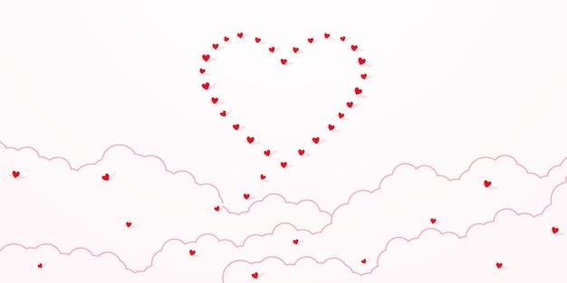 Walentynki miłość koncepcja tło czerwone serce latające na niebie, aby być postacią serca z chmurą