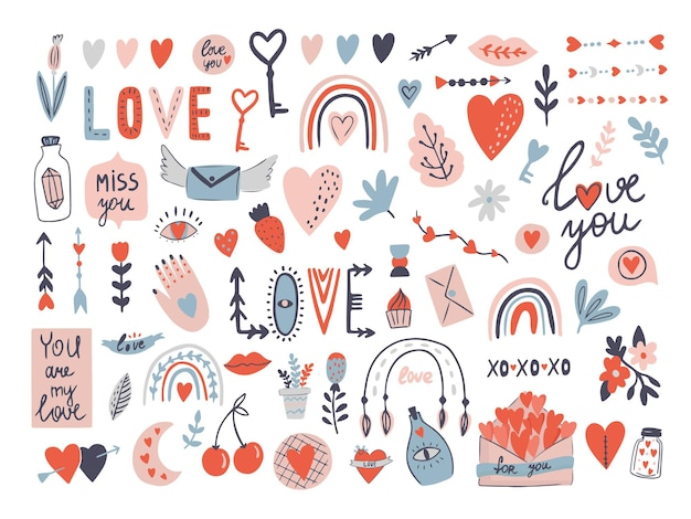 Walentynki miłość zestaw z listami z kopertą, serce ze strzałką wektor clipart.