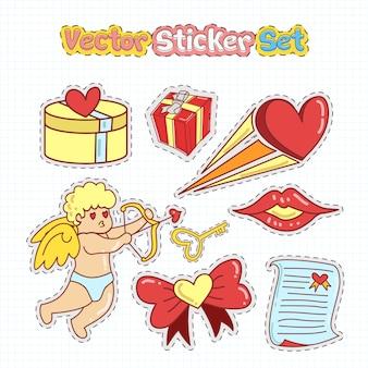 Walentynki naklejki naszywki w stylu doodle. ilustracja wektorowa