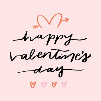 Walentynki napis na różowym tle