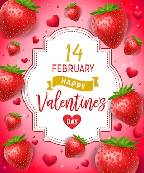 Walentynki napis z truskawkami