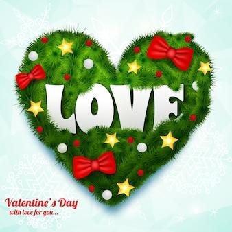Walentynki naturalne z napisem zielone serce z gałęzi wstążka łuki bombki gwiazdki na białym tle ilustracji wektorowych