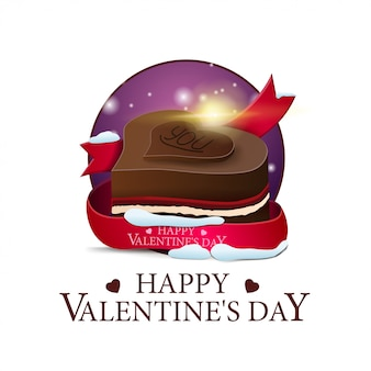 Walentynki okrągły baner z czekoladą