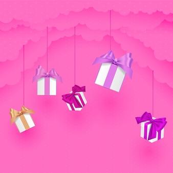 Walentynki papieru w stylu chmury z prezentem w chmurach. styl cięcia papieru. różowa ilustracja.