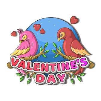 Walentynki para ptaków