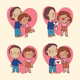 Walentynki para z kwiatem i listem miłosnym