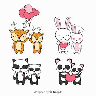 Walentynki para zwierząt kolekcja
