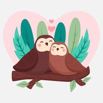 Walentynki para zwierząt w płaskiej konstrukcji