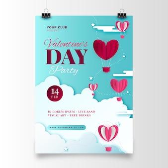 Walentynki party plakat w stylu papierowym