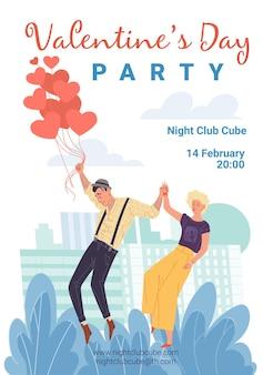 Walentynki party plakat z zakochanymi postaciami z kreskówek