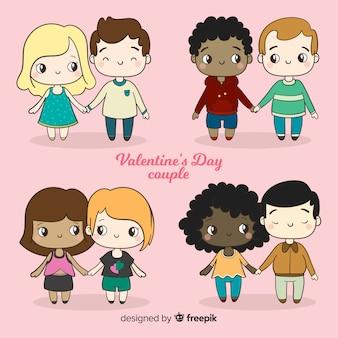 Walentynki pary trzymając się za ręce kolekcji