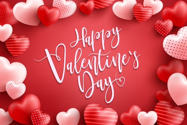 Walentynki plakat lub baner z wieloma słodkimi sercami i na czerwono. szablon promocji i zakupów lub na miłość i walentynki