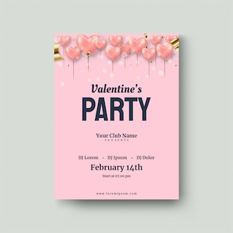 Walentynki plakat z balonami love pink balloon 3d.
