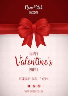 Walentynki plakat z czerwoną kokardą