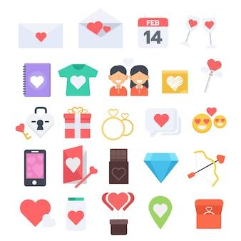Walentynki płaski kształt nowoczesny zestaw ikon