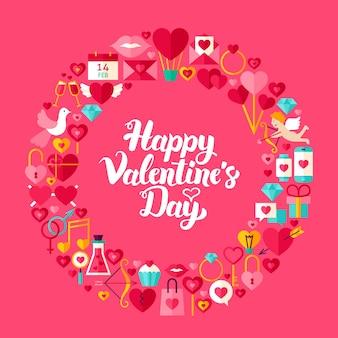 Walentynki płaskie koło obiektów. kolekcja przedmiotów wakacyjnych miłości.