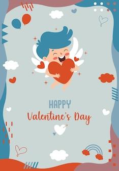 Walentynki pozdrowienie projekt z postacią z kreskówki