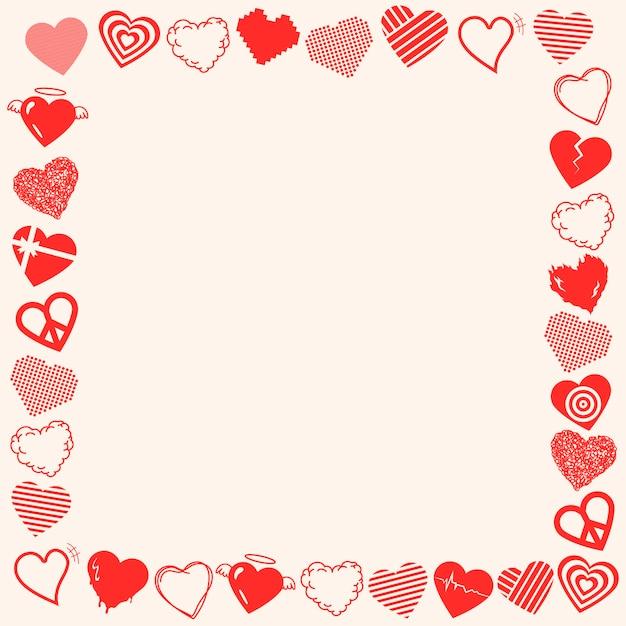 Walentynki rama wektor, ładny projekt granicy serca