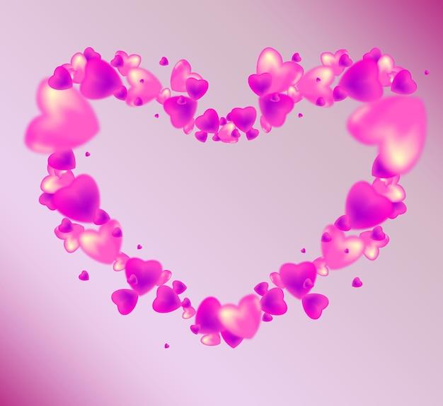 Walentynki. rama z różowymi i fioletowymi sercami.