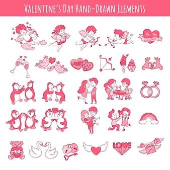 Walentynki ręcznie rysowane elementy