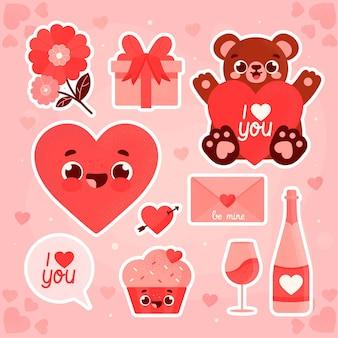 Walentynki ręcznie rysowane kolekcja elementów